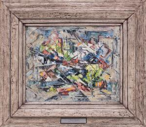 "Charles Ragland Bunnell, ""Untitled (Colorado Mining District)"", oil, 1951 painting fine art for sale purchase buy sell auction consign denver colorado art gallery museum"
