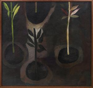 "Polia Sunockin Pillin, ""Earth"", oil, 1957 painting for sale purchase consign auction denver Colorado art gallery museum"