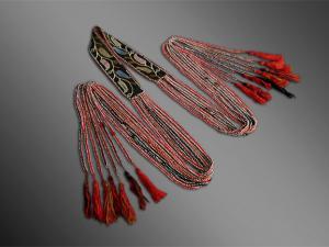 Creek Indian beaded sash, 19th century beaded native american sash, beaded sash with red and black