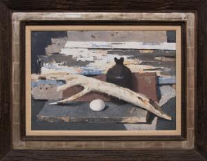 "Paul Sample, ""Still Life with Old Wood and Egg"", oil, 1965 painting for sale purchase consign auction denver Colorado art gallery museum"