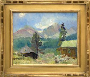 "Randall Vernon Davey, ""Untitled (Cabin near Estes Park, Colorado)"", oil, c. 1927 painting for sale purchase consign auction denver Colorado art gallery museum"