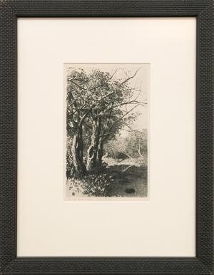 """George Elbert Burr, """"Untitled (Creek and Trees)"""", etching, August 3, 1923 for sale purchase consign auction denver Colorado art gallery museum"""
