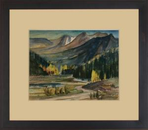 """Charles Ragland Bunnell, """"Catamount Country (Colorado)"""", watercolor on paper, c. 1930 painting fine art for sale purchase buy sell auction consign denver colorado art gallery museum"""