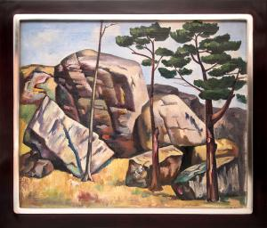 "Jan Matulka, ""Untitled (Landscape with Rocks and Trees)"", oil, circa 1930 painting for purchase sale consignment auction denver colorado art gallery museum"