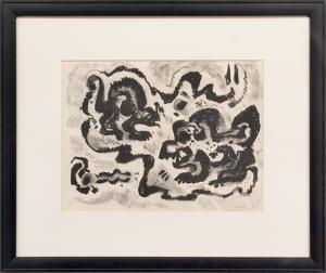 "Emil James Bisttram, ""Untitled"", charcoal, c. 1950 for sale purchase consign auction denver Colorado art gallery museum"