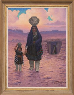 "Robert Ottokar Lindneux, ""Zuni Woman and Child"", oil on canvas, 1931 for sale purchase consign auction denver Colorado art gallery museum"