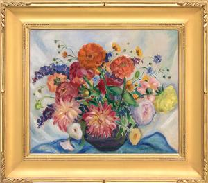 "Kenneth Miller Adams, ""Mixed Bouquet"", oil, circa  1930 painting fine art for sale purchase buy sell auction consign denver colorado art gallery museum"