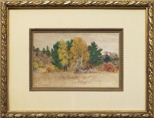 "Charles Partridge Adams, ""Untitled (Trees in Autumn, Colorado)"", mixed media, c. 1900 for sale purchase consign auction denver Colorado art gallery museum"