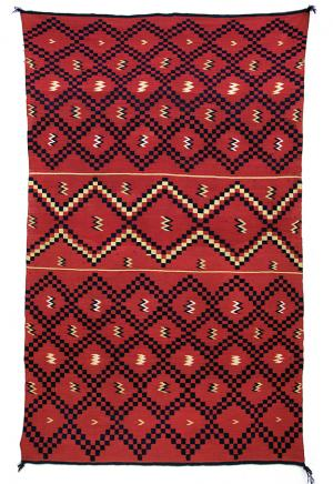 classic period Serape sarape , Navajo, circa 1860 pre reservation native american indian antique, rug, textile, red, blue, cochineal, indigo, rabbitbrush