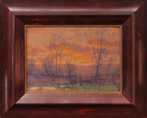 "Charles Partridge Adams, ""Untitled (Sunset, Along the Front Range, Colorado)"", watercolor, c. 1900 for sale purchase consign auction denver Colorado art gallery museum"