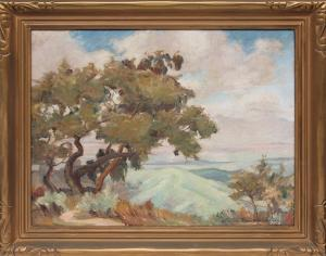 "Louise Everett Nimmo, ""Untitled (California Landscape)"", oil on canvas, c. 1920 for sale purchase consign auction denver Colorado art gallery museum"