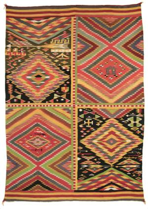 Navajo Germantown Pictorial blanket, 19th century, 4 panel, eye dazzler, guns, house, arrows, red, yellow, orange, black, green, patchwork, antique, vintage, transitional, circa 1875, circa 1880, circa 1890, tapestry, wall hanging, southwestern, authentic, weaving, textile