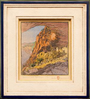 "Gustave Baumann, ""Ceremonial Cave at Frijoles Canyon, 8/100"", woodcut (nailcut), 1919 for purchase sale consignment auction denver colorado art gallery museum"