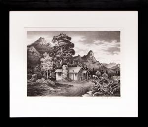 """James Russell Sherman, """"Tiny Town Cabin"""", lithograph, 1939 for sale purchase consign auction denver Colorado art gallery museum"""