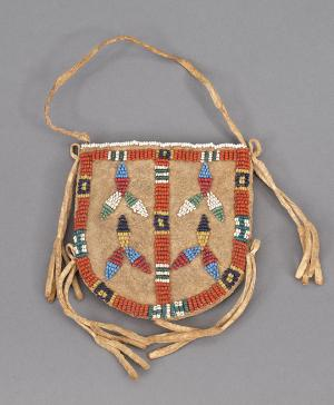 vintage plains beaded pouch hide beadwork sioux 19th century Native American Indian antique vintage art for sale purchase auction consign denver colorado art gallery museum