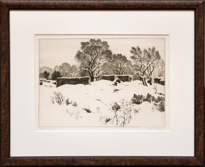 "Gene (Alice Geneva) Kloss, ""Adobes in the Snow (New Mexico); edition of 75"", etching, 1944 for sale purchase consign auction denver Colorado art gallery museum"