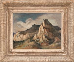 "Frederick Shane, ""Chalk Cliffs, Mt. Princeton, Colorado, View from old Hotel Antero"", tempera, 1944 for sale purchase consign auction denver Colorado art gallery museum"