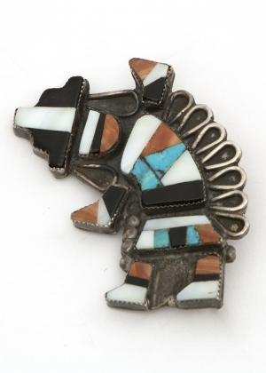 Zuni rainbow man inlay pin vintage old pawn southwest jewelry  Native American Indian antique vintage art for sale purchase auction consign denver colorado art gallery museum