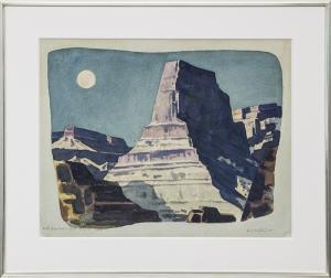 "Emil James Bisttram, ""Majestic Moonlight"", watercolor, 1944 for sale purchase consign auction denver Colorado art gallery museum"