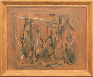 """Charles Ragland Bunnell, """"Untitled (Abstract Expressionist Composition)"""", oil, 1954, for sale purchase consign auction denver Colorado art gallery museum"""