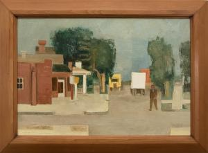"Hayes Lyon, ""O.L.D. Garage, Denver"", oil painting, 1935 for sale purchase"