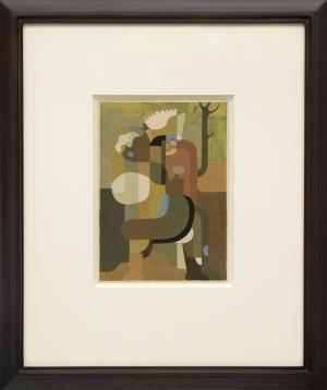 """Hilaire Hiler, """"Untitled"""", gouache, circa 1935 painting for sale purchase consign sell buy Denver Colorado art gallery museum auction historic"""