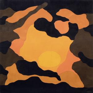 "Margo Hoff, ""Sundown Pool"", mixed media, 1973 painting for sale purchase auction consign denver colorado art gallery museum"