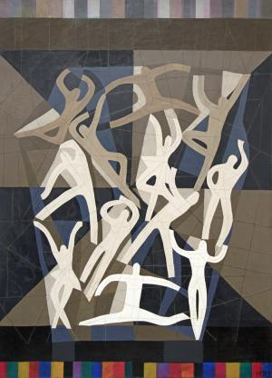 "Margo Hoff, ""Action Series - Dance"", mixed media, 1981for sale purchase consign auction denver Colorado art gallery museum"