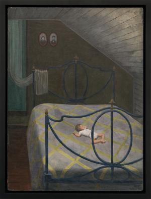 "Margo Hoff, ""Siesta Upstairs"", oil, 1945 painting fine art for sale purchase buy sell auction consign denver colorado art gallery museum"