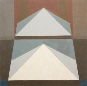 "Margo Hoff, ""Pyramid White"", oil, circa 1960 abstract painting fine art for sale purchase buy sell auction consign denver colorado art gallery museum"