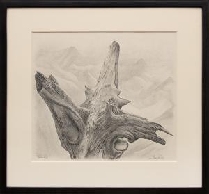 """Ross Eugene Braught, """"Timber Line (Colorado)"""", graphite, 1957 painting fine art for sale purchase buy sell auction consign denver colorado art gallery museum"""