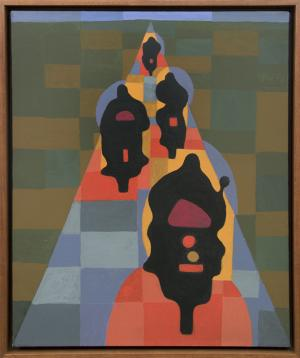 "Margo Hoff, ""Motorcycle Lights"", acrylic, 1965 painting fine art for sale purchase buy sell auction consign denver colorado art gallery museum"