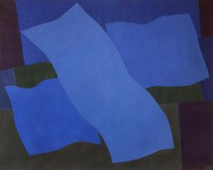 "Margo Hoff, ""Flying Blue"", acrylic, 1979 abstract painting fine art for sale purchase buy sell auction consign denver colorado art gallery museum"