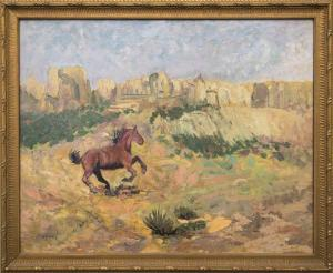 "Raphael Lillywhite, ""Mustang"", oil, circa 1935 for sale purchase consign auction denver Colorado art gallery museum"