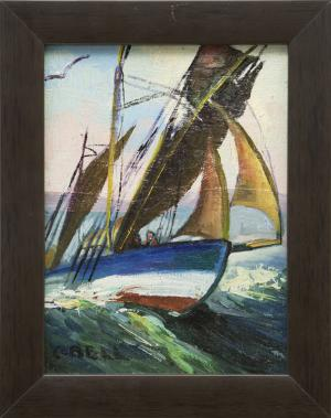 """Caroline Bell, """"Untitled (Sailing)"""", oil painting fine art for sale purchase buy sell auction consign denver colorado art gallery museum"""