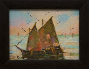 """Caroline Bell, """"Untitled (Sailboats)"""", oil painting fine art for sale purchase buy sell auction consign denver colorado art gallery museum"""