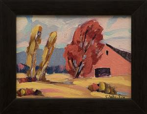 """Charles Wheeler, """"Untitled (Red Barn)"""", oil painting fine art for sale purchase buy sell auction consign denver colorado art gallery museum"""