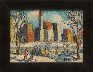 "H. Harvey, ""Untitled (City on the Snow)"", oil painting fine art for sale purchase buy sell auction consign denver colorado art gallery museum"