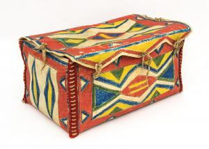 Parfleche Box, Sioux Plains Indian, last quarter of the 19th century Native American Indian antique vintage art for sale purchase auction consign denver colorado art gallery museum