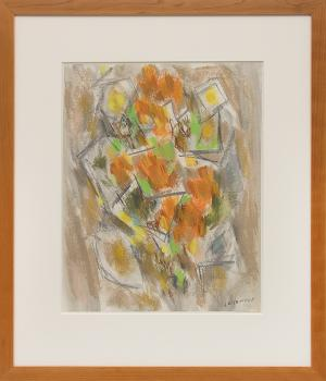 """Ward Lockwood, """"Floral"""", pastel, circa 1950 painting fine art for sale purchase buy sell auction consign denver colorado art gallery museum"""
