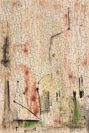 "Indiscernible Artists name/not signed, ""Untitled"", mixed media, 1953, for sale purchase consign auction denver Colorado art gallery museum"