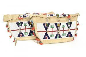 Pair of possible bags sioux plains indian 19th century Native American Indian antique vintage art for sale purchase auction consign denver colorado art gallery museum