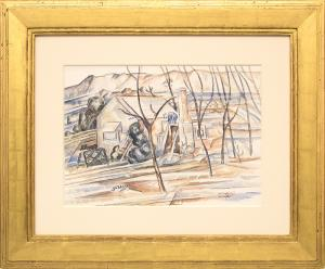 "John Edward Thompson, ""Home Building (Colorado)"", watercolor, 1937, for sale purchase consign auction denver Colorado art gallery museum"