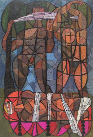 "Edward Marecak, ""The Death of Gilgamesh"", oil, 1967 painting fine art for sale purchase buy sell auction consign denver colorado art gallery museum"