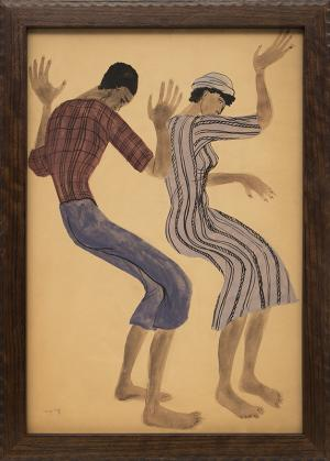 """Margo Hoff, """"Untitled (Two Dancers)"""", watercolor painting fine art for sale purchase buy sell auction consign denver colorado art gallery museum"""