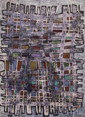 "Edward Marecak, ""Warp and Woof"", mixed media, circa 1960's  painting fine art for sale purchase buy sell auction consign denver colorado art gallery museum"