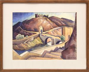 "Vance Kirkland painting for sale ""Castle and Bridge at Toledo, Spain"", watercolor consign purchase sell denver colorado"