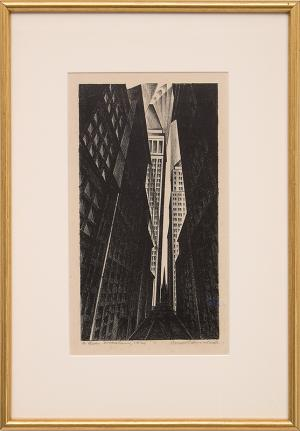 Arnold Ronnebeck, Wall Street Church, NYC Trinity Church lithograph print 1928 painting fine art for sale purchase buy sell auction consign denver colorado art gallery museum
