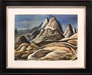 "Vance Kirkland  ""Colorado Landscape (View from Red Rocks looking south toward Soda Lakes)"", watercolor, 1943 painting fine art for sale purchase buy sell auction consign denver colorado art gallery museum"