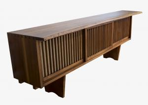 "George Nakashima, ""Conoid credenza"", sideboard room divider floor cabinet american walnut furniture mid-century modern 1960s for sale purchase auction gallery museum"
